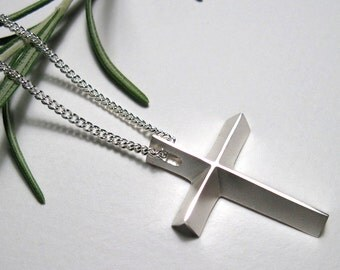 Mens Cross Necklace, Large Silver Cross Pendant with Chain- EPICENTER - Spiritus Christian Jewelry Collection
