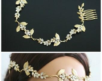 Wedding Halo Golden Shadow Crystal Grecian Headpiece Matt Gold Leaves Forehead Band Bridal Hair Accessory RAYA