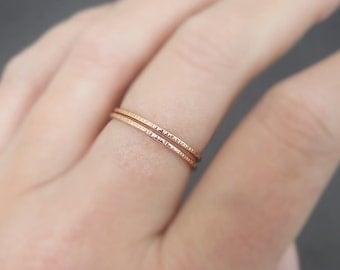 2 Thin Gold Rings or Rose Gold Rings textured sparkly stackable ring knuckle ring notched midi ring