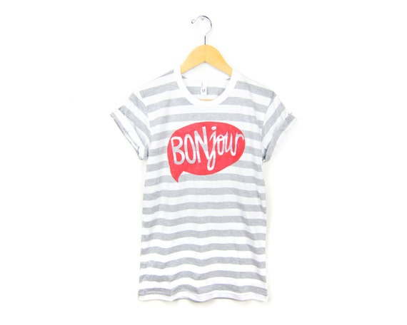 BONjour Tee - Boyfriend Fit Crew Neck Tshirt with Rolled Cuffs in Heather Grey and White Striped - Women's Size S-4XL
