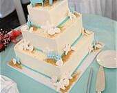 Beach Wedding Cake Topper - 2 Mini Adirondack Chairs in 6 colors - Adirondack Cake Topper - destination wedding, beach wedding decor