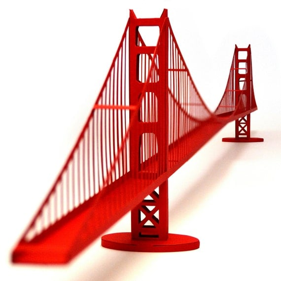Golden Gate Bridge, paper model kit with pre-cut details || 46 inches long || red color || school project supplies