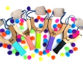 Wooden Slingshot Personalized, Pom Pom Shooter Classic Wooden Toys YOU PICK COLOR