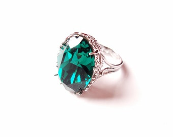 Emerald Green Swarovski Crystal Oval Shape Cocktail Rhodium Plated  Adjustable Ring / Gold or Silver Color