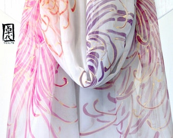 Hand painted Silk Shawl Scarf, Gray and Pink Scarf, Gray Silk Chiffon Scarf, Golden Chrysanthemums Scarf, Takuyo, 22x90 inches Made to order