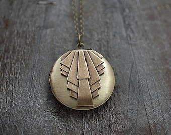 ART DECO style LOCKET necklace. Bronze colored locket, art deco style, with long necklace.