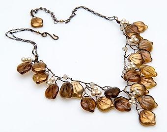 Brown Glass Leaf Beaded Bib Necklace, Brown Vintage Style Necklace,  Brown Beaded Bridal Necklace,  Brown Winter Wedding Jewelry