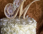 custom monogram pearl  wedding cake toppers  lace pearls and brooch wedding cake topper unique  wedding keepsakes wedding idea cake topper