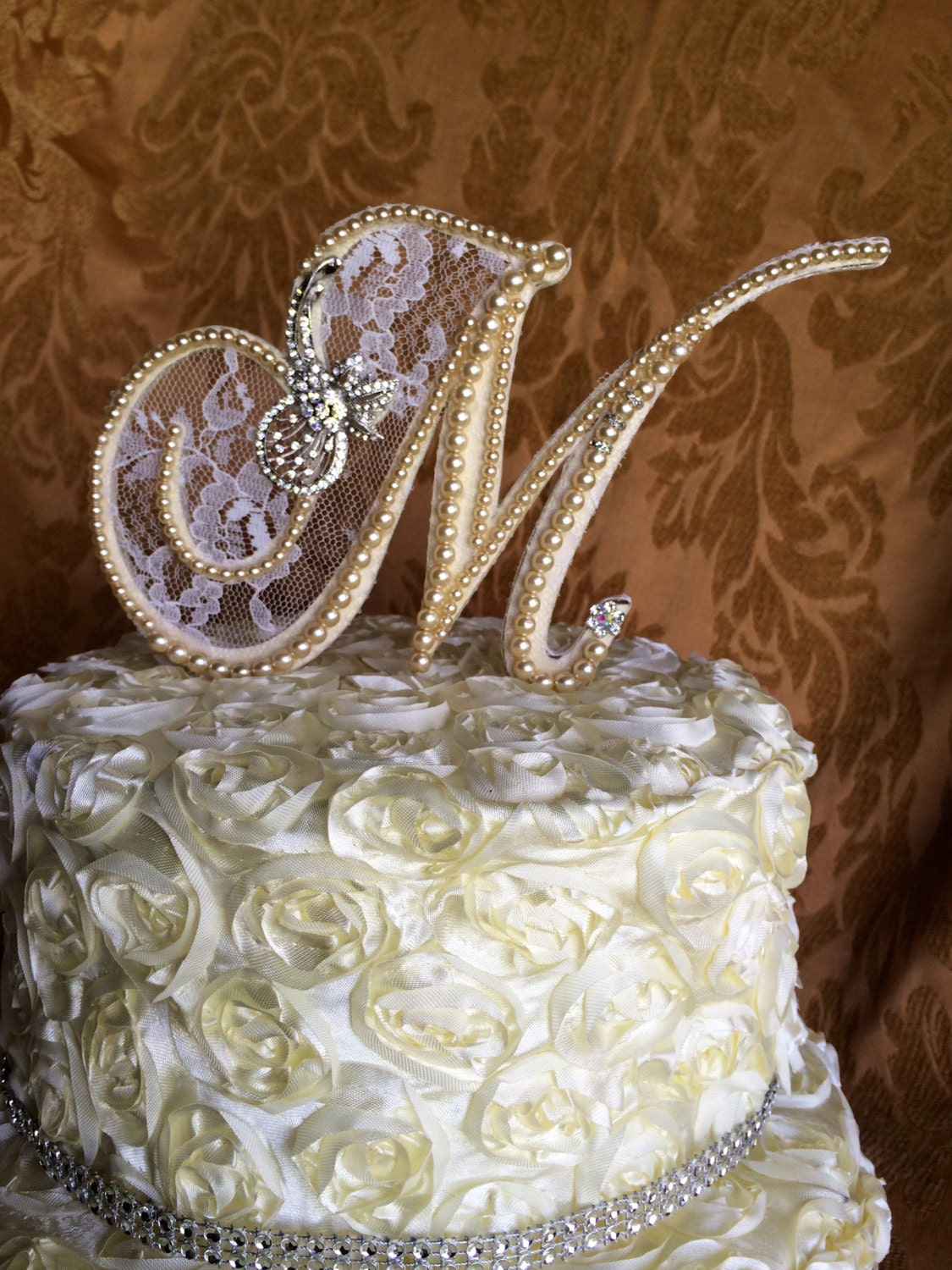 custom monogram pearl wedding cake toppers lace pearls and