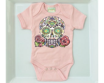 Baby Tattoo Clothing Day of the Dead bodysuit Trendy baby girl Skull Roses shirt Bones Nelson 3 6 9 12 months Trendy Kids clothes