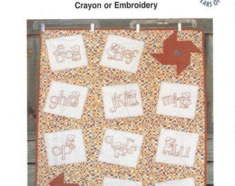 SALE - Sam and Sue Alphabet - Iron On Transfer Pattern for Crayon or Embroidery - Patterncentral