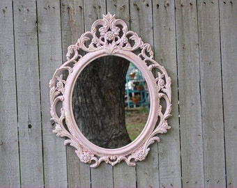 Shabby Chic Mirror, Pink, White, Gold, Oval, Upcycled, Ornate, Wall Mirror, Wedding Decor, Hand Painted, Hollywood Regency, Baroque Mirror