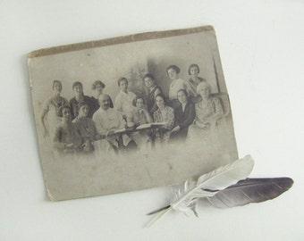 Antique Portrait Photograph - Soviet vintage photo - old black and white photography - group photo
