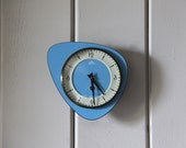 Vintage French Wall Clock Mechanical Mechanism Blue Formica