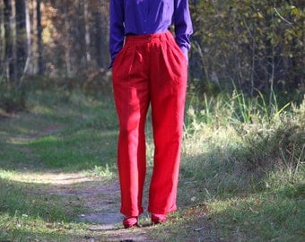 Vintage  90s Women Pants High Waisted Pants Red Striped Pants Small Size Classic Trousers Office Women Pants