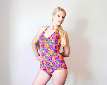 SALE! Floral Bombshell Swimsuit / 1970's German GDR One Piece Purple Ditsy Swimming Suit, Hippie Bathing Suit, Removable Bullet Cups UK12-14