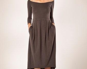 On Sale, Women Dress ,Gray Dress,Midi Dress,Women's Dress,Long sleeves Dress,Grey Dress, Maxi Dress,Winter Dress,Women Midi Dress