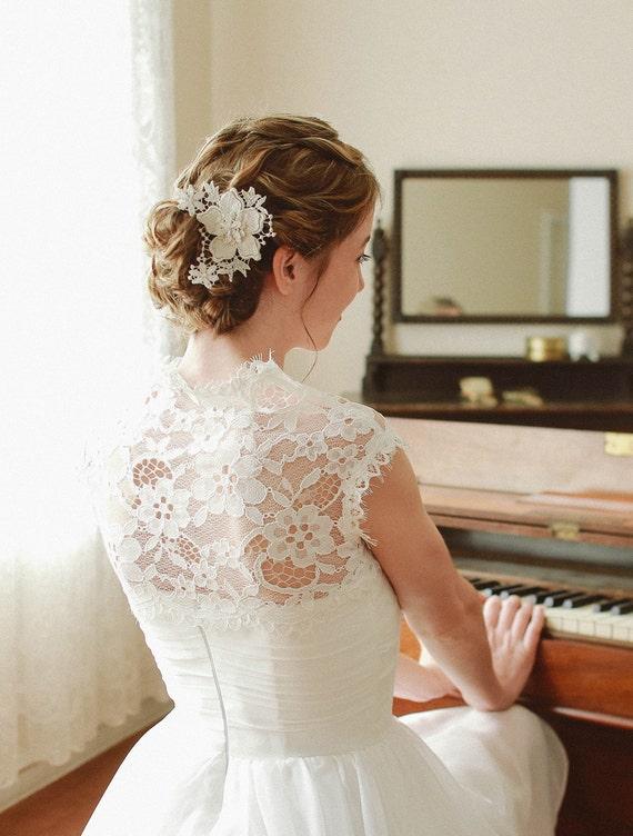 Wedding lace hair pin, Bridal lace hair pin, flower lace hair pin, hairpin, wedding lace - style 112