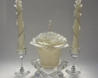 Princess Wedding Unity Candle Set, Glitter Unity Candle, Rose Candles, Fairytale Wedding Candles, Silver Wedding Decor, Unique Candles