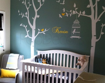 "Nursery Tree with Personalized Kid's Name Baby Room Tree Decal Birds Stickers - Two Birch Trees with Kid's Name - (102"" H) PT-0054-2"