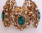 Selro Huge Victorian Emerald Rhinestone Bracelet