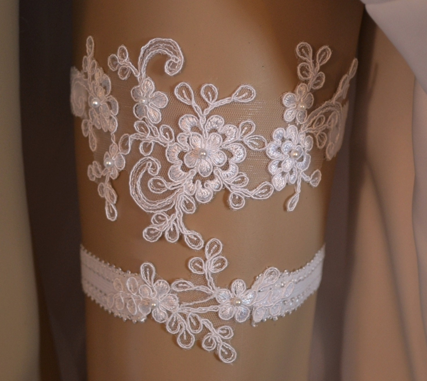 Wedding Garter Wedding Garter Set Unique Ivory Or White Lace