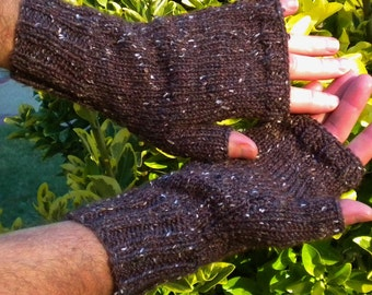 Fingerless Gloves Men's Handknit Brown Merino Wool, Alpaca & Donegal Tweed Handknit Fingerless Gloves Brown Tweed Fingerless Handwarmers