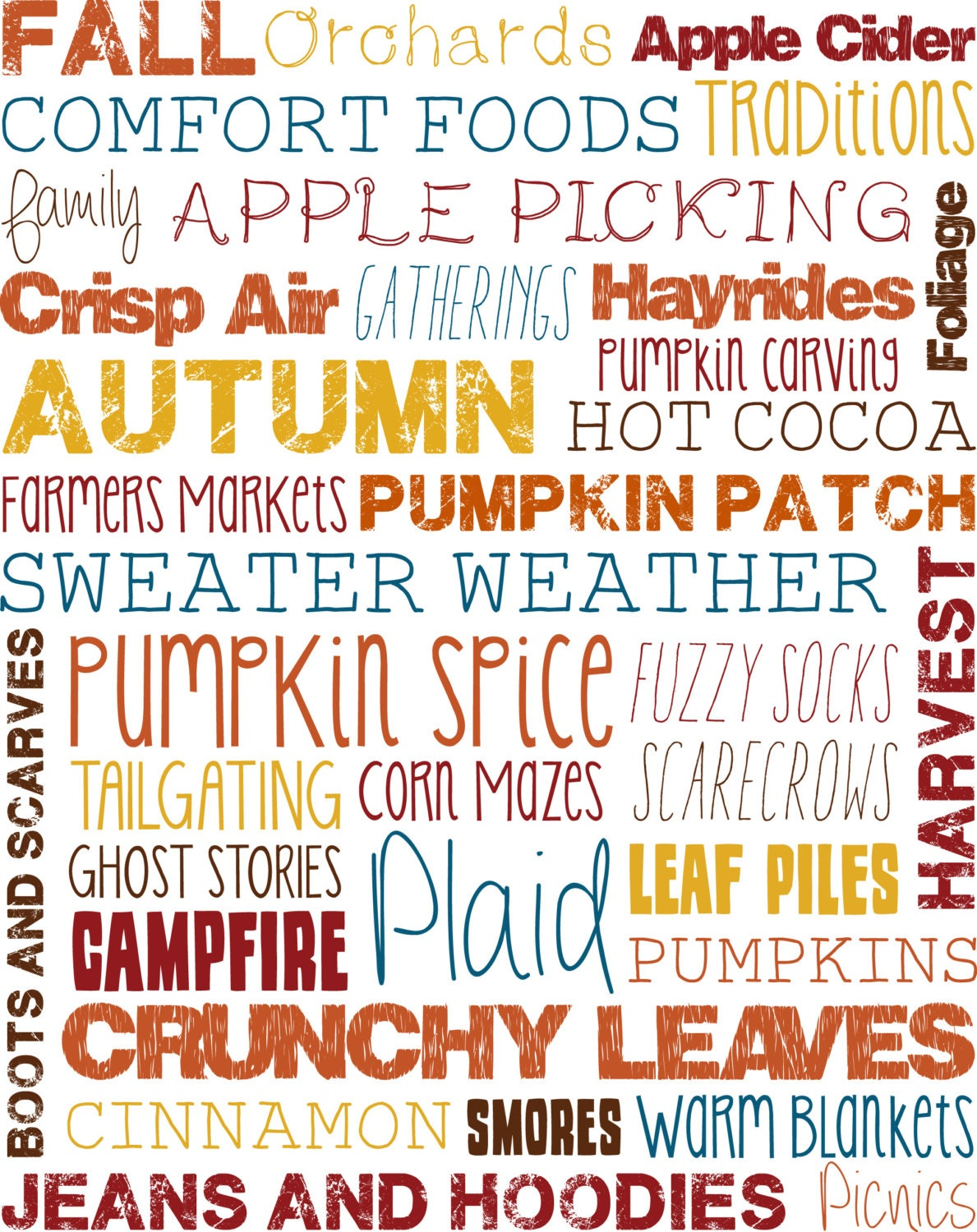 Home Decor Signs Sayings Fall Subway Art Pdf 8x10 Two Versions Instant Digital
