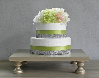 "16"" Wedding Cake Stand Champagne Square Cupcake Stand Wedding Cake Topper Cake Stand E. Isabella Designs Featured In Martha Stewart Weddings"