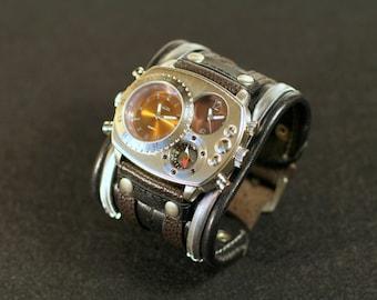 """Mens wrist watch leather bracelet """"Highlander-2"""" - Steampunk watches - Military watch - Watch strap - Watch band - Gift - Steampunk watches"""