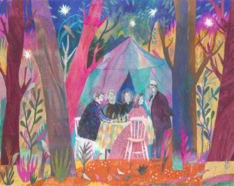 Illustration Art Print Drinking Beer in Jones's Wood A3 size (11.69 in x 16.54 in)