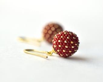 earrings red gold - chinese wedding earrings