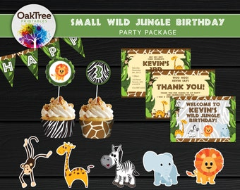 Small Wild Jungle Birthday Party Package Set - Printable - DIY - Invitation Included - 7 Items