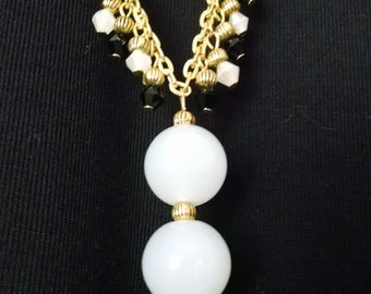 White Jade and Black Crystal Necklace