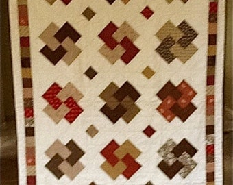 Earth Tones Quilt  Hand Quilted  41 X 63