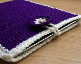 Handmade Crocheted Purple Ipad / Tablet Sleeve Cover with Button Detail