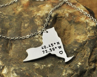 New York  necklace Latitude Longitude Necklace Coordinate  925 sterling silver  necklace state necklace map necklace state charm