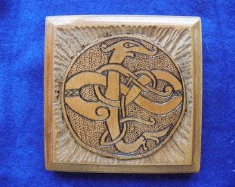 Wooden Viking Dragon Plaque