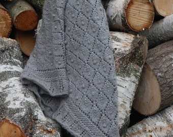 "Handknitted shawl ""Burdock leaves"" / gray shawl / big shawl / soft shawl / knit shawl"