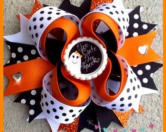 HALLOWEEN! Boutique hair bow! Ghost bow