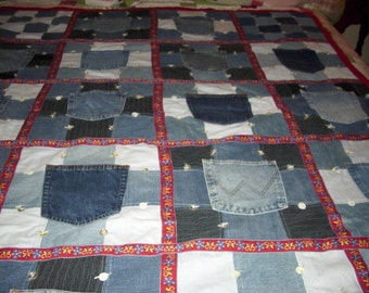 Denim Pockets One-of-a-Kind Patchwork Lap Quilt
