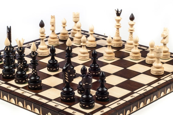 Brand New Luxury Hand Carved Indian Wooden Chess Set 53cm X