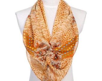 Womens Scarf, Yellow Scarf, Orange Scarf, Floral Print Scarf, Leopard Print Scarf, Chiffon Scarf, Voile Scarf, Cotton Scarf, Fashion Scarf