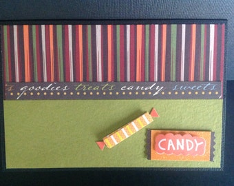 Handmade Halloween Card - Trick or Treat design - Candy
