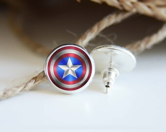Captain America earrings, silver plated stud posts or leverback dangles