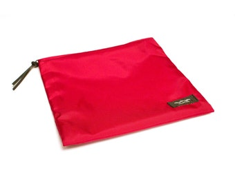 8x8 inch Red basic nylon zipper pouch -- use for travel, snacks, cosmetics, a tool bag, photo-video gear, and more!