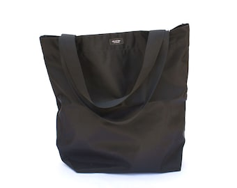 Solid Black Basic Market Tote made from 100% Nylon --durable, lightweight, water-resistant, washable.