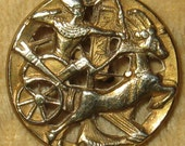 Antique Victorian Pictorial Button Egyptian Pharaoh in His Chariot Pierced Brass