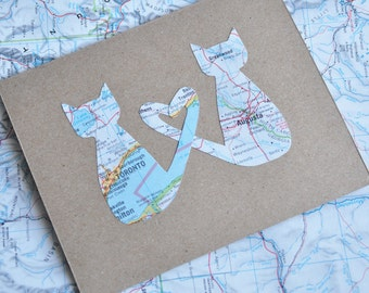 Personalized Valentine Map Card Love Cats