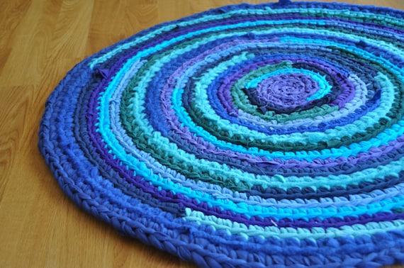 Crochet Area Rag Rug Blue Purple Green Streaks Eco